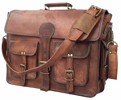 Buyitall.today Leather 4 pocket Laptop/Messenger Bag 17