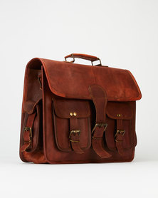 Buyitall.today Leather 4 pocket Laptop/Messenger Bag 15""