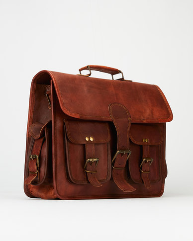 Buyitall.today Leather 4 pocket Laptop/Messenger Bag 15
