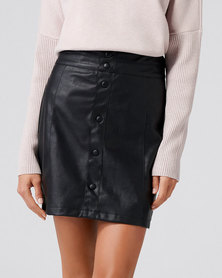 Forever New Willow Button Down Leatherette Mini Skirt Black
