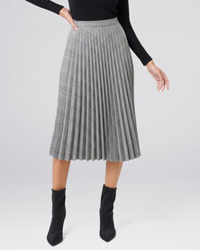 Forever New Adelyn Check Pleat Skirt Grey Check