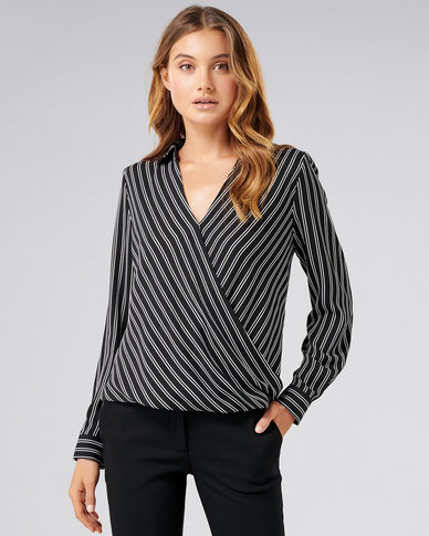 Forever New Cassie collar button wrap Black base ticking stripe