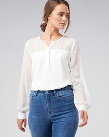 Forever New Sally sheer yoke placket blouse white