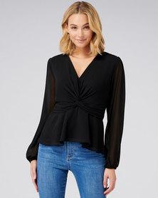 Forever New Tessa twist front blouse black