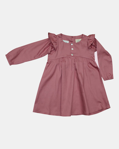 Razberry Baby Pink Cotton sateen Dress with Frill detail