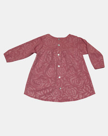 Razberry Toddlers Rose Embossed Dress Pink