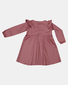 Razberry Toddlers Cotton Sateen Dress with Frill detail Pink