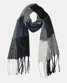 Razberry Navy, black and Milk Boulce knit Colourblock Scarf with Tassles