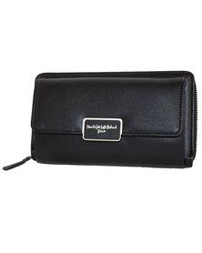 Fino PU Leather Clutch Purse with Shoulder Strap - Black