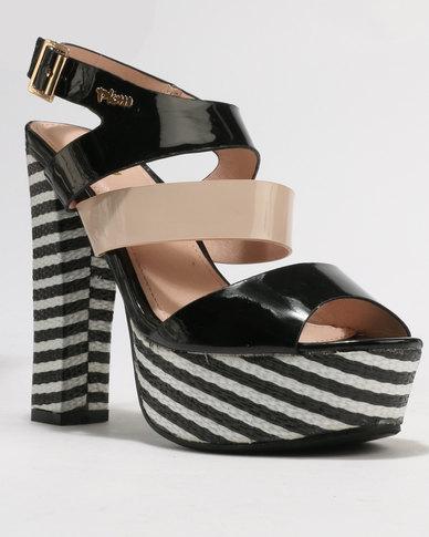 PLUM Pippa Block Heel Platform Sandal Black Combo