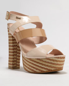 PLUM Pippa Block Heel Platform Sandal Nude Combo