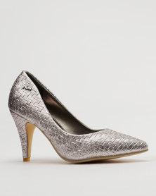 PLUM Wove High Heel Court Silver