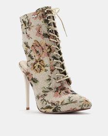 PLUM Printed High Heel Boot Ivory