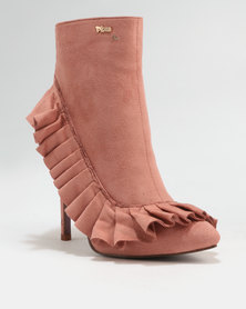 PLUM Frill Heeled Ankle Boot Dusty Pink