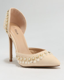 PLUM Pointy Embellished Court Champagne