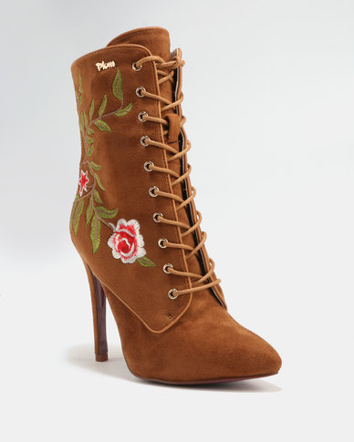 PLUM Delta Printed Heeled Boot Tan