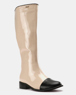 PLUM Knee High Boot Nude/Black Patent