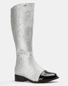 PLUM Knee High Boot Silver Glitter