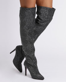 PLUM Over The Knee Heeled Boot Pewter