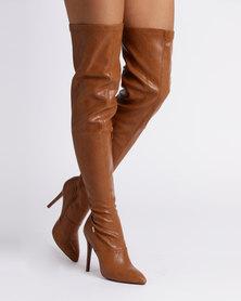 PLUM Konda Over The Knee Boot Tan