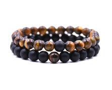 Urban Charm Natural Stone Couples Bracelet Set - Black Agate, Tiger's Eye