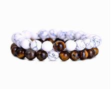Urban Charm Natural Stone Couples Bracelet Set - Tiger's Eye Howlite