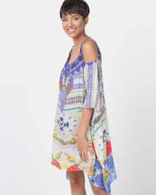 Talooshka Short Crepe Open Shoulder Kaftan - Roma