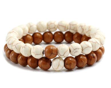 Urban Charm Natural Stone Couples Bracelet Set - Howlite Brown