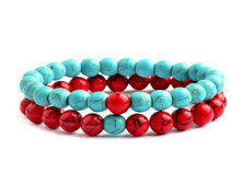 Urban Charm Natural Stone Couples Bracelet Set - Turquoise & Red Howlite