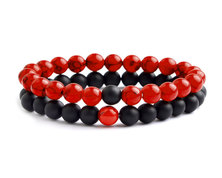 Urban Charm Natural Stone Couples Bracelet Set - Red Howlite & Agate