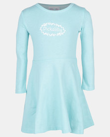 Pickallily Kids Long Sleeved Dress Aqua