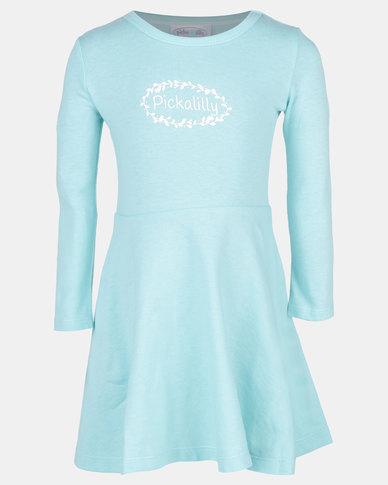 Pickallily Kids Long Sleeved Dress Aqua