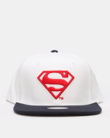 Ililily Superman Flat Peak Cap White