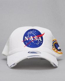 Ililily Nasa Meatball Logo Peak Cap White