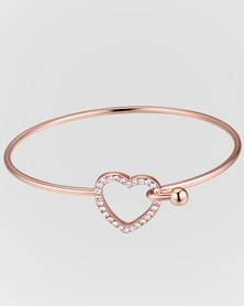 Btime Rose Gold Plated Bangle With Crystal Studded Heart