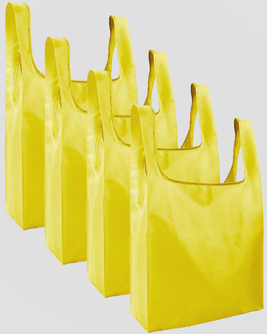 Gretmol Online Reusable Grocery Bags 4 Pack Foldable Shopping Tote Bag - Yellow