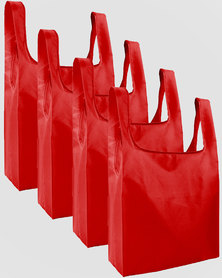 Gretmol Online Reusable Grocery Bags 4 Pack Foldable Shopping Tote Bag - Red