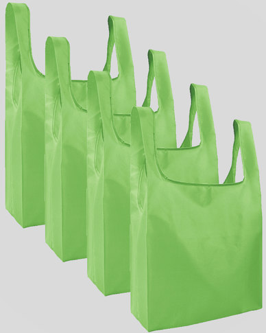 Gretmol Online Reusable Grocery Bags 4 Pack Foldable Shopping Tote Bag - Green