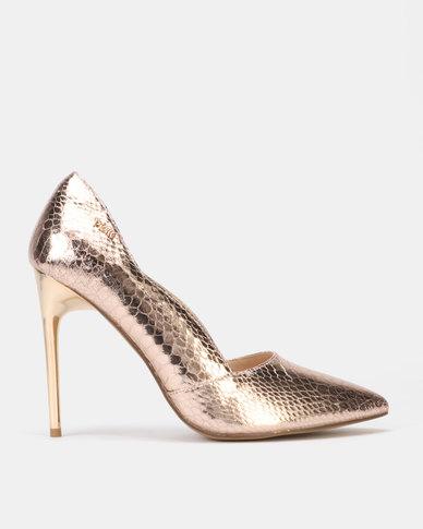 PLUM Metallic Heeled Court Light Gold