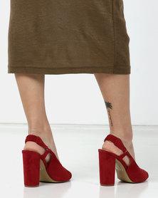 PLUM Slingback Heels Red