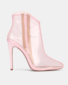 PLUM Point Heel Ankle Boots Pink