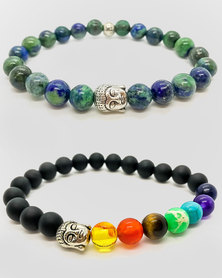 Btime 7-Crystal Chakra Healing Bracelet Lapis Lazuli & Black Natural Stone-2 Set