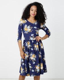 Clara Midi Dress Navy Print