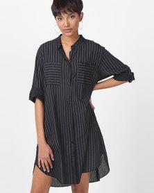 UB Creative Cotton Stripe Print Dress Black