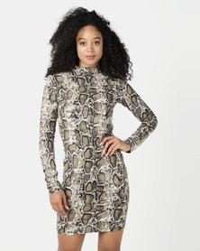 SassyChic Tash Dress Snakeskin Print