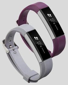 Gretmol Grey & Purple Fitbit Alta Sport Silicone Replacement Strap Combo