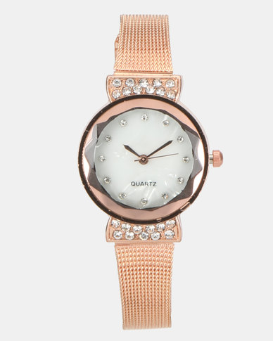 You & I Mesh Strap Watch Rose Gold