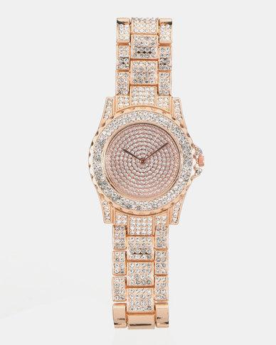You & I Diamante Link Rose Gold Watch