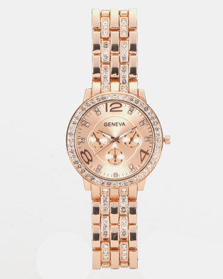 You & I Diamante Encrusted Watch Rose Gold