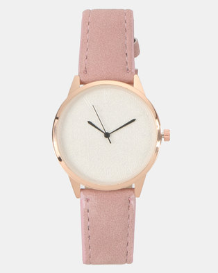 You & I Faux Suede Watch Soft Pink